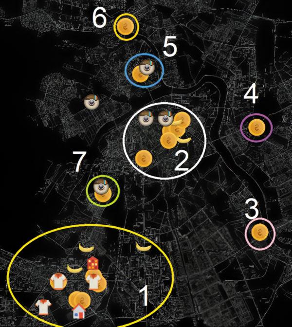 Визуализация зон потребительской активности клиента (цифрами отмечены номера кластеров, иконками — различные типы трат (продукты, одежда, банкоматы), а также геолокации по данным социальных сетей)