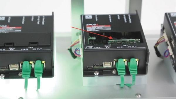 Контроллер EPOS4, снабженный платой расширения для интерфейса EtherCAT