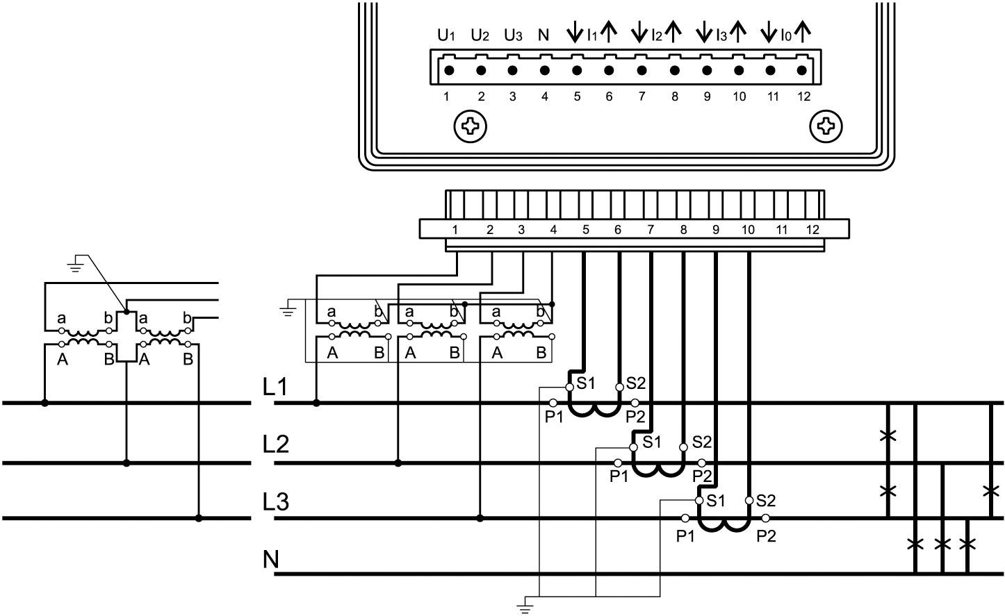 Схема подключения анализатора ND45 к силовым линиям в случае измерений параметров 4-проводной сети с использованием четырех трансформаторов тока