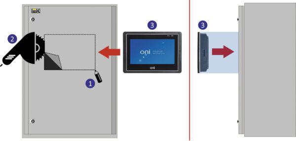 Порядок установки HMI-панели в оболочку НКУ