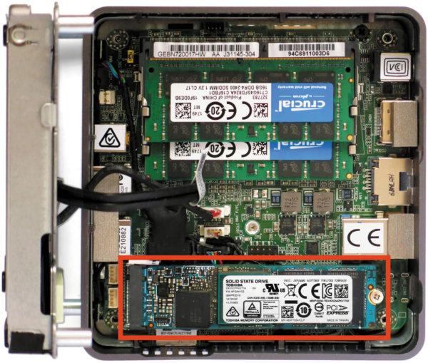 Тестируемый SSD в системном блоке