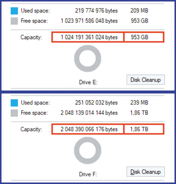 Емкостные параметры SSD XG5 1024GB и SSD XG5-P 2048GB