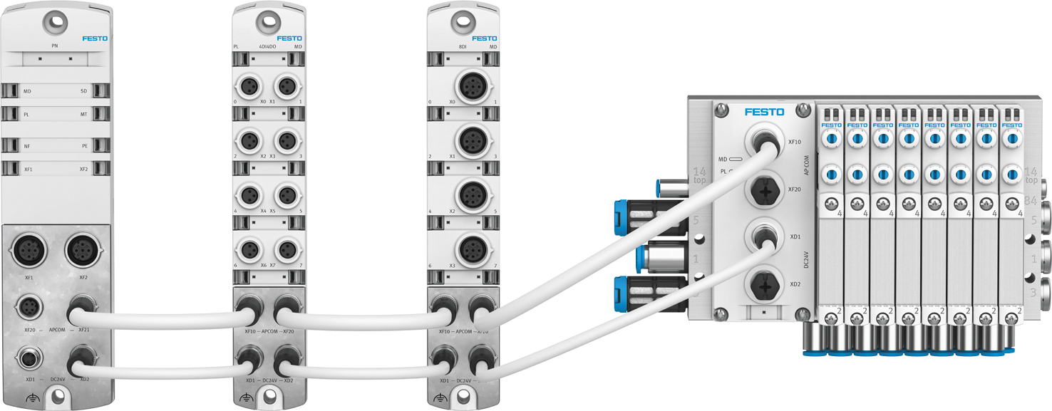 Пример системы CPX-AP-I с шинным модулем PROFINET -> AP, цифровыми модулями 4DI4DI M8, 8DI M12 и пневмоостровом VTUG с AP-модулем