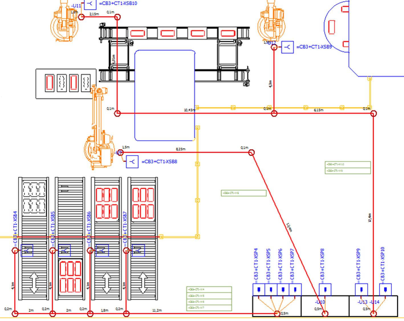 План производственной площадки с размеченной системой кабельных трасс и отчетами по кабелям