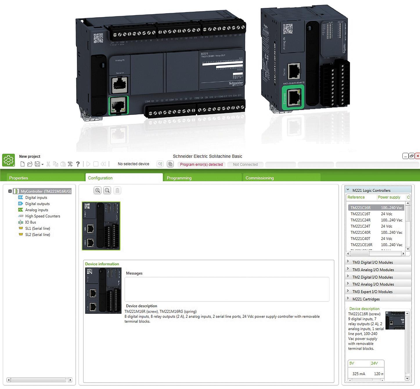 Внешний вид контроллера Modicon М221 и среды разработки SoMachine Basic