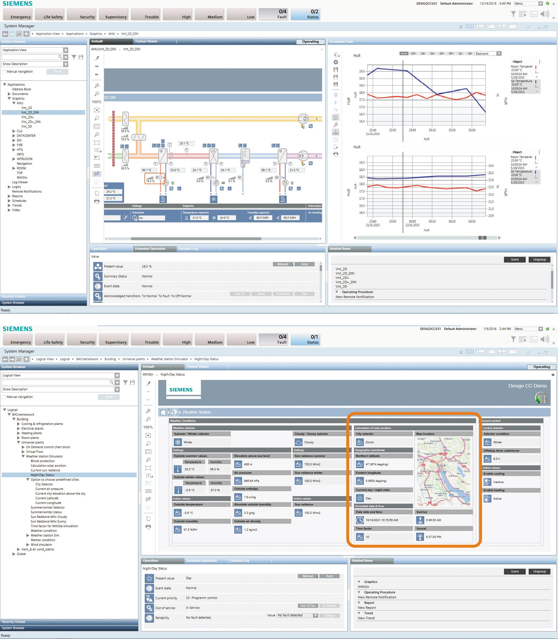 Рис. 2. Примеры графики SCADA системы Desigo CC