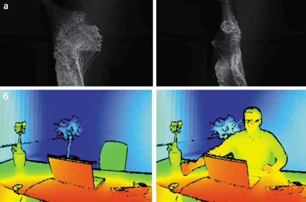 Варианты представления глубины изображения: в системе расстояние/яркость, полученное с помощью датчика компании Kinect и визуализированное с помощью 3D программного обеспечения и изображение в системе расстояние/цвет от системы машинного зрения компании Basler AG