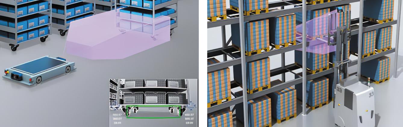 Обнаружение объекта. Точное определение положения поддона для погрузочно-разгрузочных работ на складе с высокими стеллажами, а также определение местоположения и положения тележек для захвата поддонов автоматическими транспортными средствами