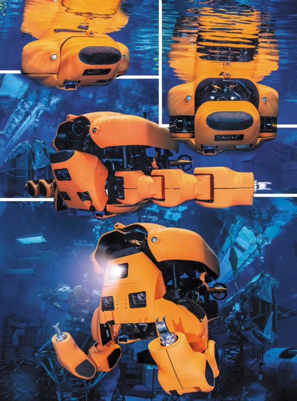 Автономный подводный аппарат (AUV) трансформируется в дистанционно управляемый аппарат (ROV) с массивными манипуляторами и надежным сенсорным комплексом, подходящим для выполнения работ на подводных нефтяных месторождениях.