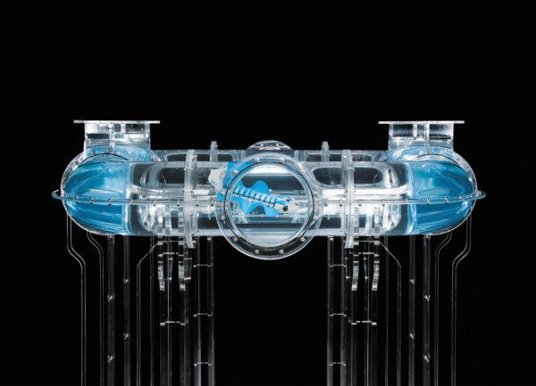 BionicFinWave маневрирует внутри системы труб из акрилового стекла