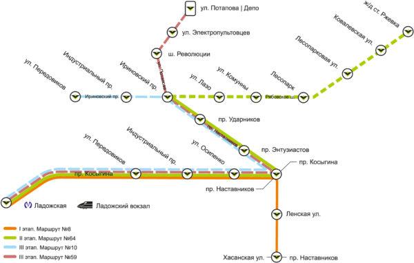 Схема маршрутов «Чижика»