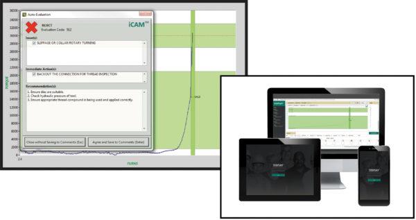 Технология интеллектуального анализа соединения монтажа колоны труб трубной обвязки, вынесенная на экран, и дисплей с его отображением