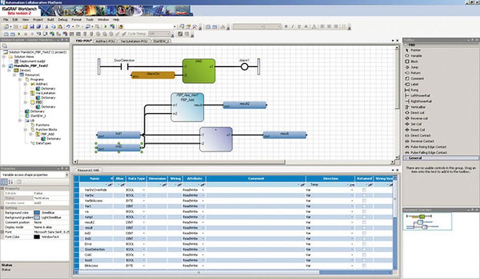 Рис. 1. Пример интерфейса ISaGRAF 6 ACP Workbench