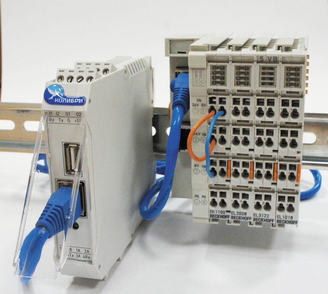 Рис. 3. Внешний вид контроллера «Колибри-К1» с модулями ввода/вывода Beckhoff