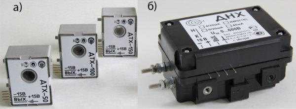 Рис. 1. Общий вид датчиков тока ДТХ (а) и датчиков напряжения ДНХ (б) для монтажа на печатную плату