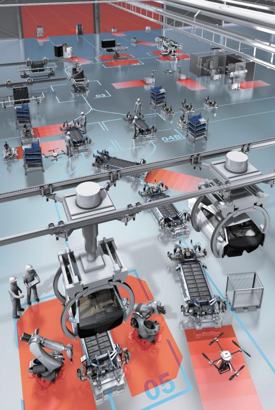 Фрагмент современного роботизированного производства с системой обеспечения безопасности, использующей лазерные сканеры microScan3