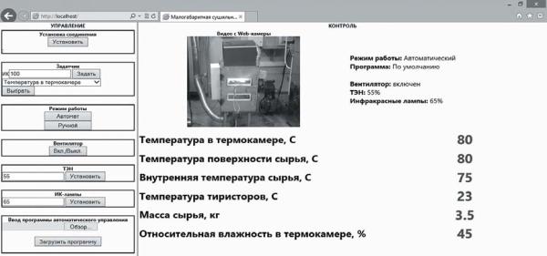 Экранная форма веб-приложения САУ МСУ