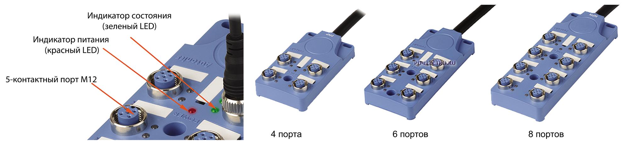 Распределительные коробки серии PT с 5-контактными разъемами M12 с кабельным вводом