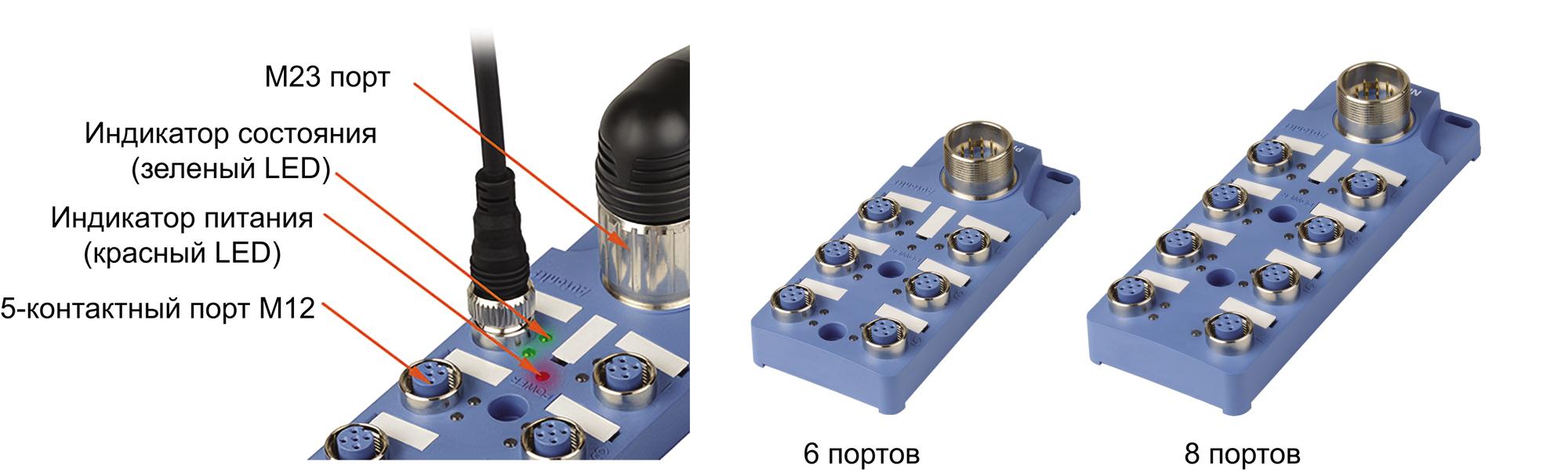 Распределительные коробки PT-C с 5-контактными разъемами M12 с внешним подключением через разъем