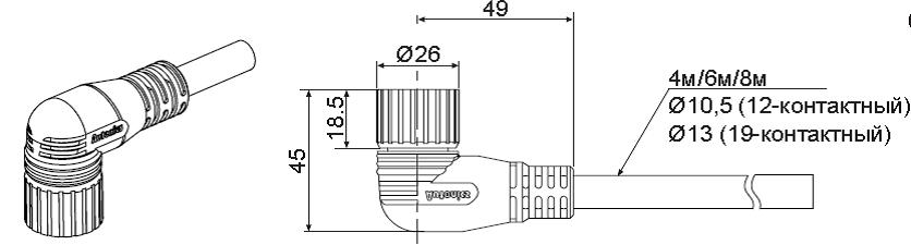 Соединительный кабель с разъемом M23 для моделей с 5-контактным разъемом M12)