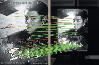 Сопоставление изображения постера фильма, снятого камерой мобильного телефона, с эталоном