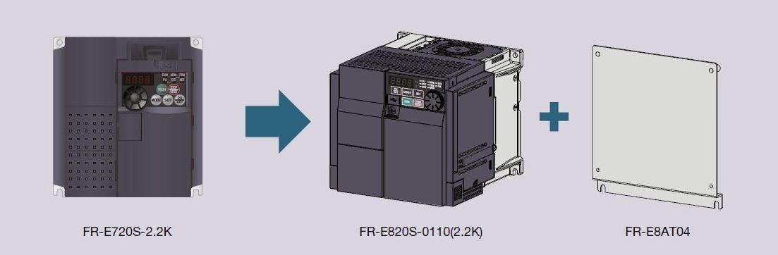 Использование переходного монтажного комплекта FR-E8AT04