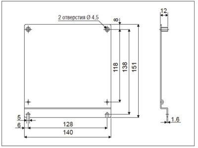Размеры монтажного комплекта FR-E8AT04
