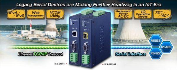 1-портовый сервер COM-портов ICS-2100T для преобразования интерфейса RS-232/422/485 в Ethernet и удаленного доступа к устройствам