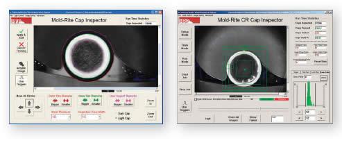 Интерфейс пользователя позволяет оператору быстро установить видеосистему для проверки различных сочетаний цветов крышек и прокладок.