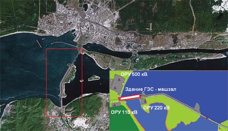 Рис. 1. Жигулeвская ГЭС. Вид со спутника. Схема расположения объектов