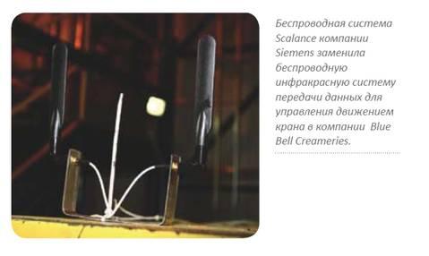 Беспровдная система Scalance компании Simens заменила беспроводную инфракрасную систему передачи данных для управления движением крана