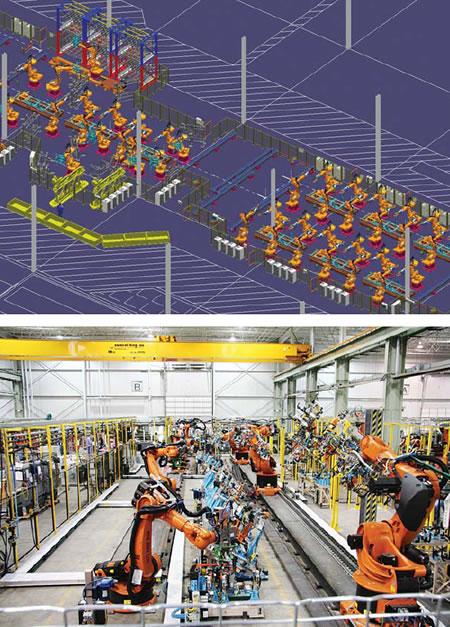 Инженеры компании Kuka используют продукты Tecnomatic Process Designer и Process Simulate для создания виртуального представления (справа) завода обработки неокрашенных кузовов компании Chrysler (фото ниже). Источник: Kuka Sytems Corp.