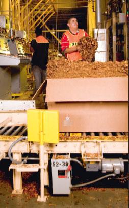 Считывающее устройство RFID (желтое, на переднем плане) считывает метки, нанесенные на боковые поверхности коробок в компании Universal Leaf. Антенны RFID могут устанавливаться или встраиваться в любые устройства, работающие в любой среде. Некоторые системы могут принимать сигнал на нескольких частотах. Источник: Intermec