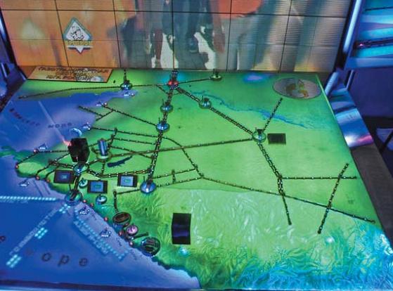 Макет газотранспортной системы Юга России на стенде Газпрома был одним из самых зрелищных