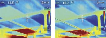 На изображении, выполненном с использованием функции MSX (справа), хорошо видна текстура потолка с регулировкой микроклимата в режиме охлаждения