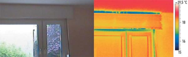При взгляде на это окно может показаться, что оно находится в хорошем состоянии, но испытание на воздухонепроницаемость, проведенное с помощью тепловизионной камеры FLIR, ясно показывает наличие сквозняка. Тесты с анемометром выявили потоки воздуха со скоростью 6,44 м/с (потоки воздуха со скоростью свыше 2 м/с уже считаются значительными)