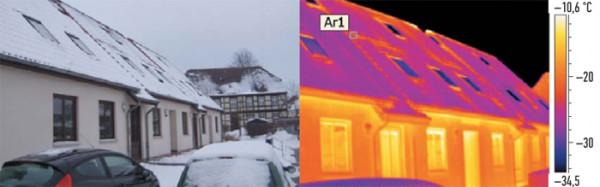Тепловое изображение выявило недостатки изоляции крыши