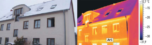 На этом примере четко видно, что рама крайнего справа светового люка пропускает тепло, и несколько участков на крыше недостаточно изолированы