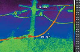 Рис. 8. Инфракрасное изображение фрагмента ЛЭП, полученное  с помощью тепловизора IRTIS, работающего в спектральном диапазоне 3–5 мкм