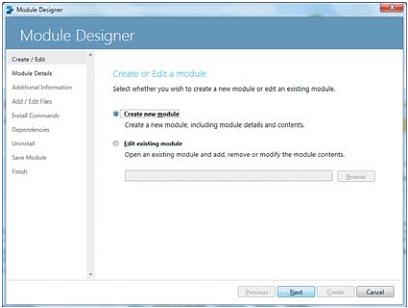 Окно Create/Edit в Module Designer