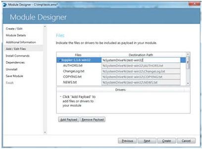Окно добавления файла или каталога в модуль