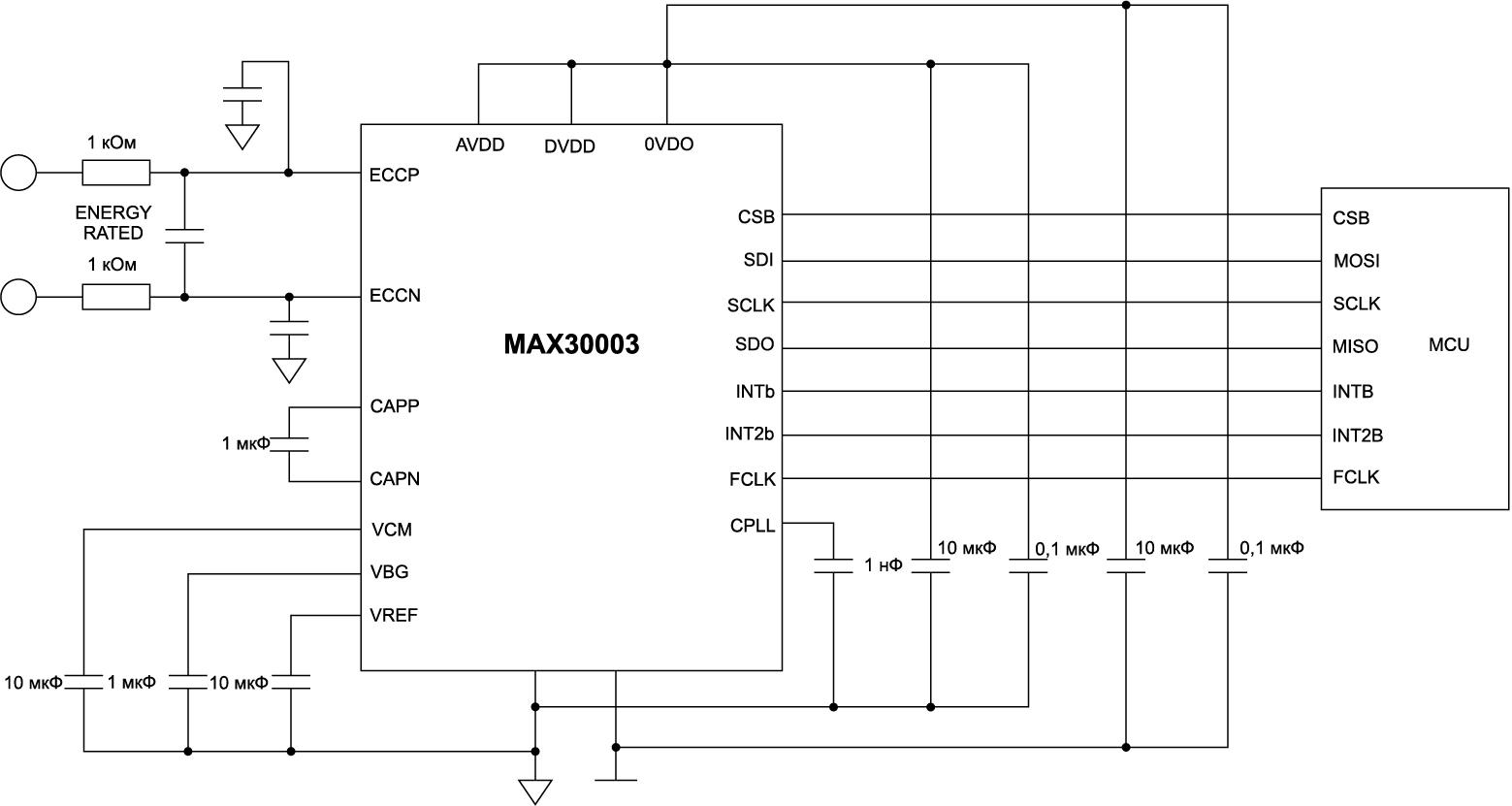 Схема включения MAX30003